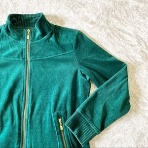 STYLE & CO Velour Jacket Green Medium